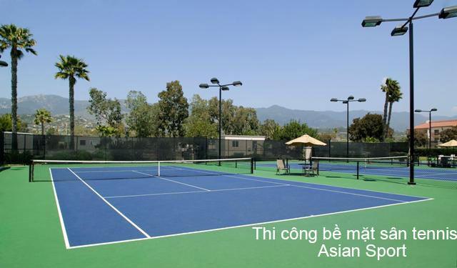 Thi công sơn bề mặt sân tennis